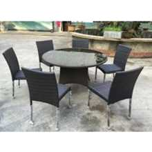 Sevilla table diam. 130 + 6 chairs like rattan for outdoor, garden, hotel