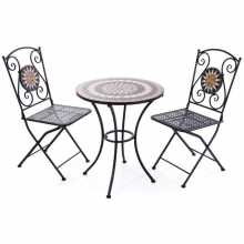 Mosaic Set - Table and 2 chairs in painted metal with a mosaic pattern from an outdoor garden