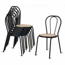 Pack 10 sedie Vienna I -  thonet impilabile metallo, finta paglia