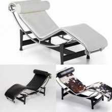 LC4 - Eco-leather, genuine leather, or pony design Chaise Longue. Le Corbusier Bauhaus style