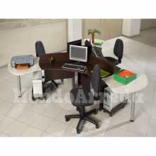 Devona 1 - Contract melamine laminate office 3 seats desk. Suitable for office, hotel.