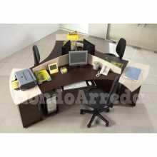 Satida 2 - Contract melamine laminate office 3 seats desk. Suitable for office, hotel.