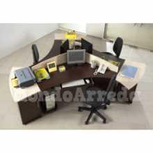 Satida 3 - Contract melamine laminate office 4 seats desk. Suitable for office, hotel.