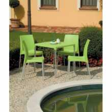 BOULEVARD - Stackable square polypropylene table 70X70 with aluminium legs. Suitable for bar, pizzeria, Grand Soleil